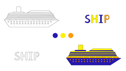 Coloring page for children with ship and hand draw letters.