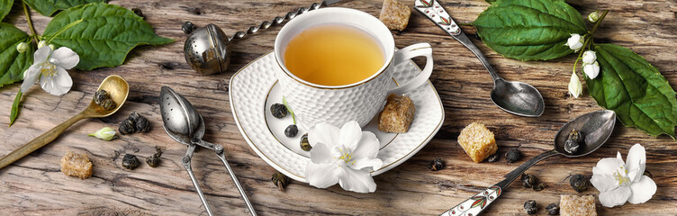 poster with tea with Jasmine flowers