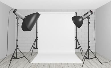 Professional studio lighting set up