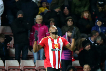 Sunderland's Victor Anichebe celebrates scoring their third goal