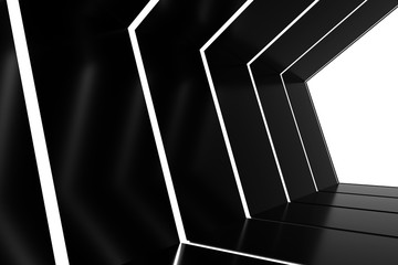 Abstract black glossy interior with glow lines and white exit in end corridor. 3d rendering.