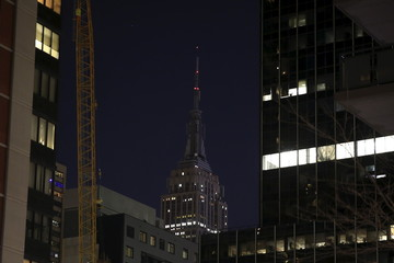 The Empire State Building remains dark in sympathy following the attacks in Paris in the Manhattan borough of New York