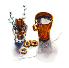 Teacup with spices. Menu design. Watercolor hand drawn painted tea illustration.