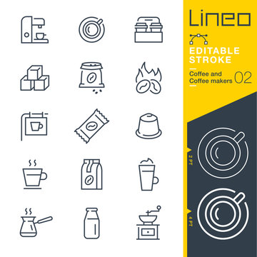 Lineo Editable Stroke - Coffee line icons Vector Icons - Adjust stroke weight - Expand to any size - Change to any colour