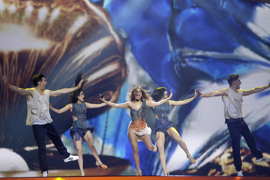 """Eleftheria Eleftheriou of Greece performs her song """"Aphrodisiac"""" during a rehearsal for the finals of the Eurovison Song Contest in Baku"""