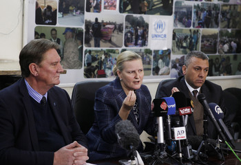 Deputy Special Representative of the United Nations Assistance Mission for Iraq (UNAMI), Lise Grande, speaks to the media during the distribution of humanitarian assistance in Baghdad