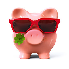 Piggy bank with red sunglasses and clover