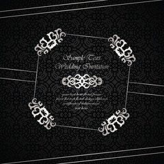 Wedding invitation with vintage frame on seamless background