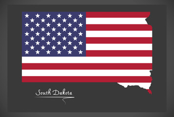 South Dakota map with American national flag illustration