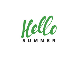 Lettering Hello Summer calligraphy hand drawn. Isolated inscription on white background vector illustration.