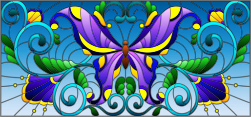Illustration in stained glass style with bright butterfly and floral ornament on a sky background