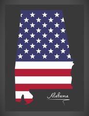 Alabama map with American national flag illustration
