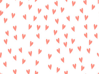 Hearts background vector pattern. Doodle pink scribble. Symbol of love red texture seamless.
