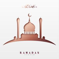 Ramadan greeting card with arabic calligraphy Ramadan Kareem. Islamic background with mosques