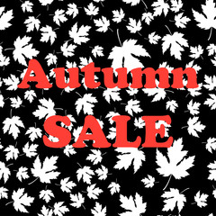 Sale banner with Autumn vector seamless pattern.