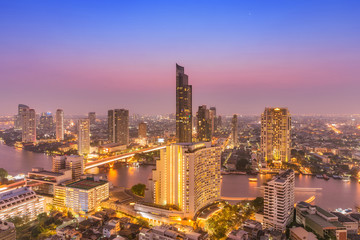erial view cityscape and Chaophraya river in Bangkok, Thailand.