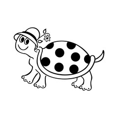 funny turtle cartoons. outlined cartoon drawing sketch illustration vector.