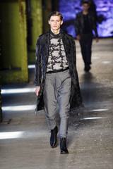 A model presents a creation at the Rag & Bone Fall/Winter 2012 collection during New York Fashion Week