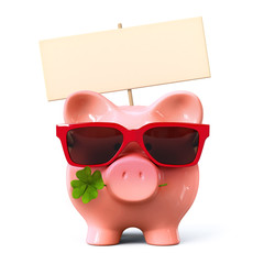 Piggy bank with red sunglasses, signboard and clover