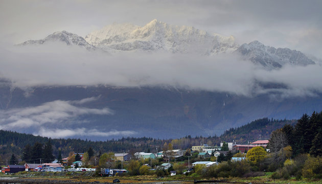The Chilkat Mountain Range is seen above the town of Haines, Alaska