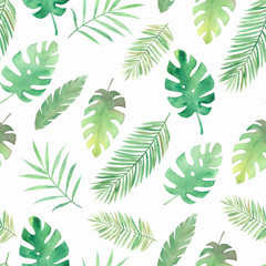 Watercolor leaves pattern. Summer print. Painting illustration