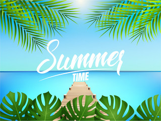 Summer time poster. Summer illustration with palms, pier and ocean