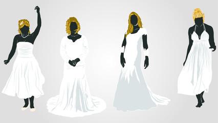 純白ドレスの花嫁シルエット