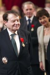 Doctor Montagnier, co-discover of the Human immunodeficiency virus (HIV) and the 2008 Nobel laureate for Medicine, poses with his Grand Officier Legion of Honour at the Elysee Palace in Paris