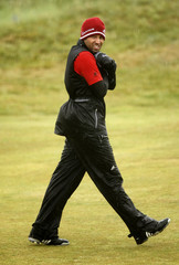 Sergio Garcia of Spain walks along the tenth fairway during the third round of the British Open golf championship at Royal St George's in Sandwich