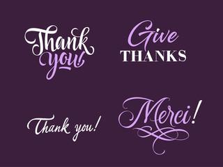 Four Thanks Letterings Set