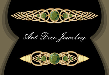 Gold tie pin in art deco style, antiquarian clasp with green gems smaragd, luxurious hair clip