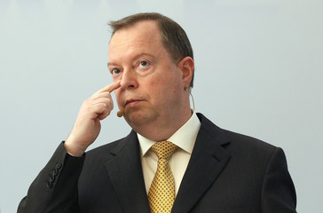 CEO of RWE AG Terium reacts during a news conference in Essen
