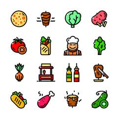 Shawarma icons set, vector illustration