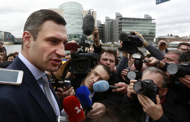 Ukraine's Vitali Klitschko speaks to the press outside the Convention Centre where the European People's Party (EPP) Elections Congress is taking place in Dublin
