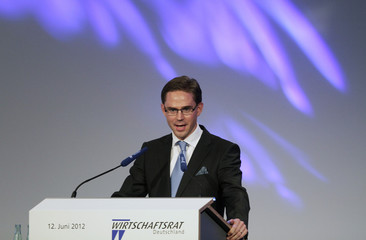 Finland's Prime Minister Jyrki Katainen delivers a speech during a gathering of the German Christian Democratic Union party's (CDU) economic council in Berlin