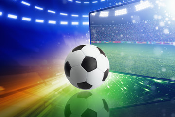 Live television broadcast of soccer match