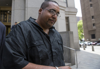 Hector Xavier Monsegur, the notorious hacker known as Sabu, exits the U.S. District Court for the Southern District of New York in Lower Manhattan following his sentencing