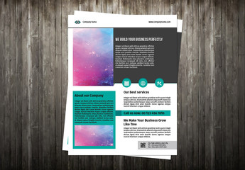 Flyer Layout with Teal and Gray Accents 1