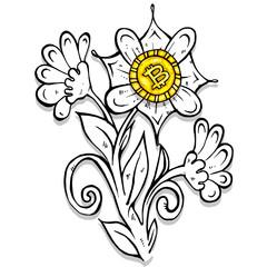 Bitcoin flower ink