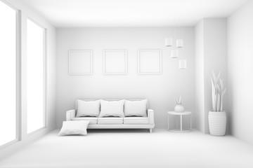 white living room in scandinavian interior in 3D rendering