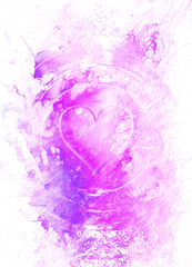 Heart in light circle, abstract graphic collage background.
