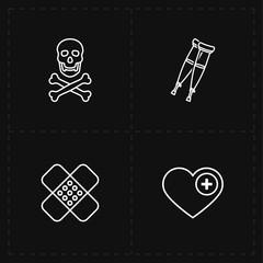 four flat medicine icons