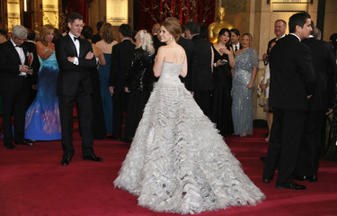 """Amy Adams, best supporting actress nominee for her role in """"The Master,"""" arrives at the 85th Academy Awards in Hollywood, California"""