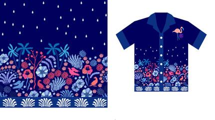 Night rain. Hawaiian shirt design.