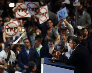 Richard Trumka speaks during the Democratic National Convention in Philadelphia