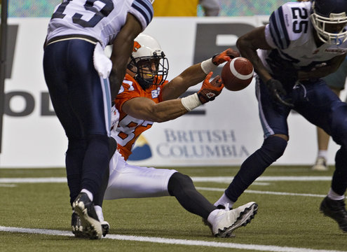 BC Lions' Iannuzzi fails to catch a pass on the goal line to score a touchdown during the second half of their CFL football game against the Toronto Argonauts in Vancouver