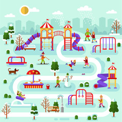 Flat design winter nature landscape of park map with kids playground. Infographic design of winter entertainment for children. Vector illustration with snowman, boy skier, girls on ice skating.