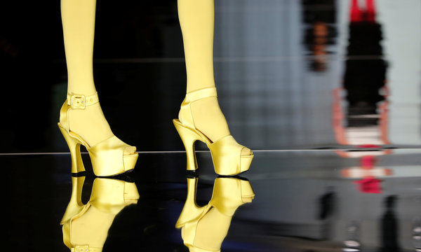 A model presents a shoes creation by French designer Jean Paul Gaultier as part of his Haute Couture Spring/Summer 2017 collection in Paris