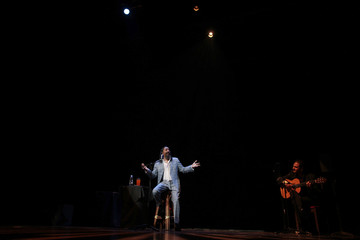 Spanish-born Dominican flamenco singer Diego El Cigala performs during a concert at the National Theatre Ruben Dario in Managua