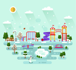 Flat design vector winter illustration of cute kids playground with swings, slides, carousel, snowman, bench, lantern, rink, snowflakes.Infographics elements of winter entertainment for children.